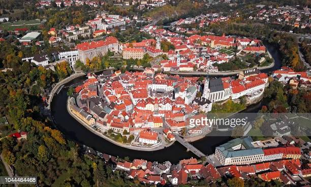 Aerial panorama of Cesky Krumlov, South Bohemian Region of the Czech Republic