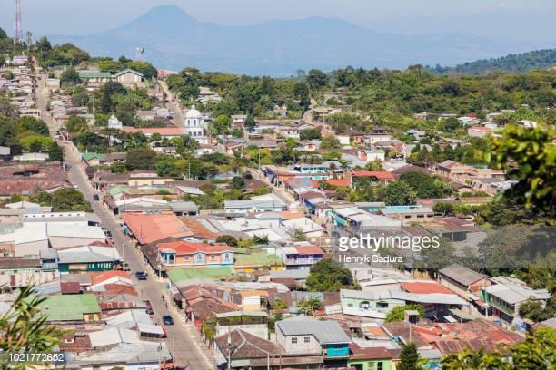 aerial panorama of concepcion de ataco - san salvador fotografías e imágenes de stock