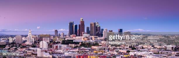 Aerial Panorama of Downtown Los Angeles at Sunset