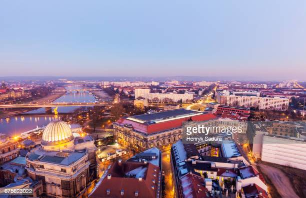 Aerial panorama of Dresden at sunset