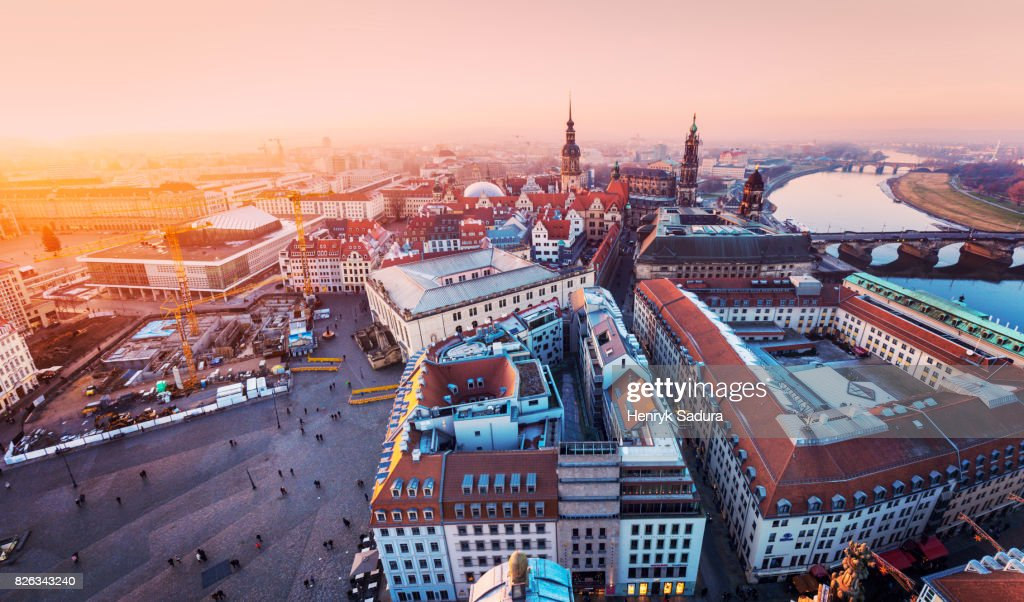 Aerial panorama of Dresden at sunset : Stock-Foto