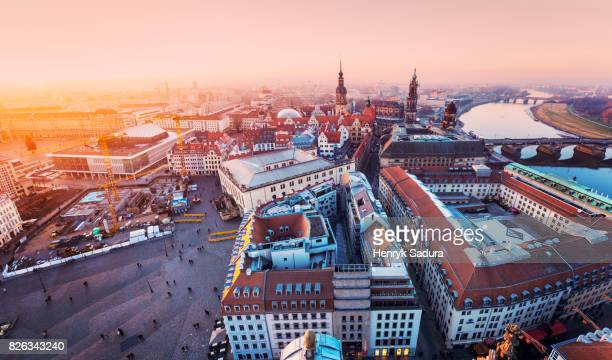aerial panorama of dresden at sunset - stadtviertel stock-fotos und bilder