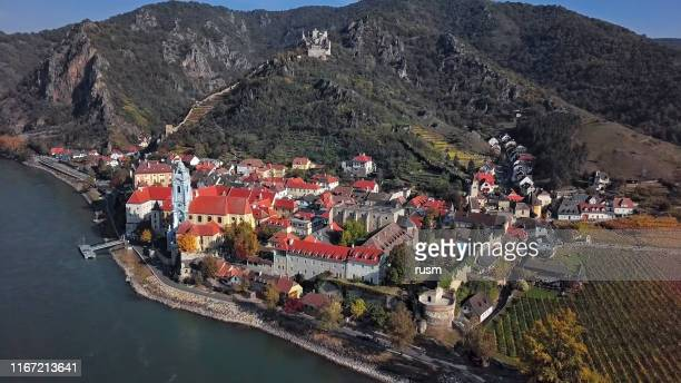 Aerial panorama of Durnstein town. Wachau valley, Austria