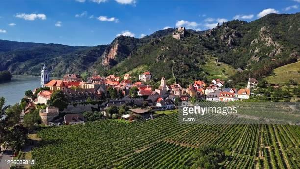 aerial panorama of durnstein town. wachau valley, austria - austria stock pictures, royalty-free photos & images