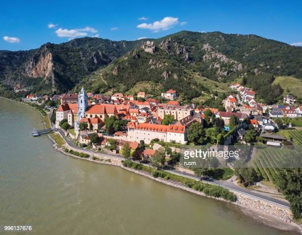 aerial panorama of durnstein town. wachau valley, austria - danube river stock pictures, royalty-free photos & images