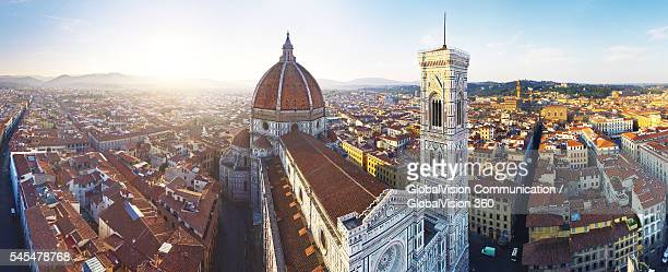 aerial panorama of florence cathedral, italy - duomo santa maria del fiore stock pictures, royalty-free photos & images
