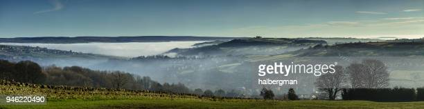 Aerial Panorama of Haworth, West Yorkshire on Foggy Morning