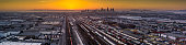Aerial Panorama of Intermodal Freight Yard in Vernon, CA with DTLA Skyline