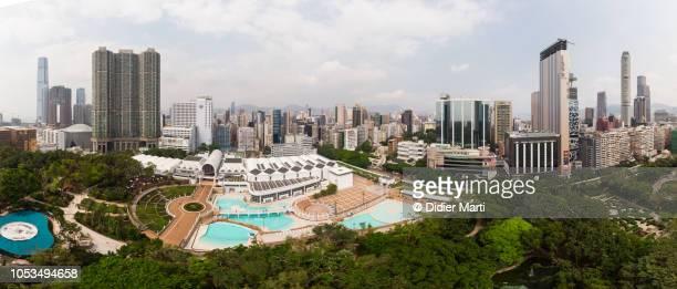 Aerial panorama of Kowloon in Hong Kong