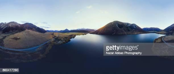 Aerial Panorama of Lake Pearson (Moana Rua), High Country, South Island, New Zealand.