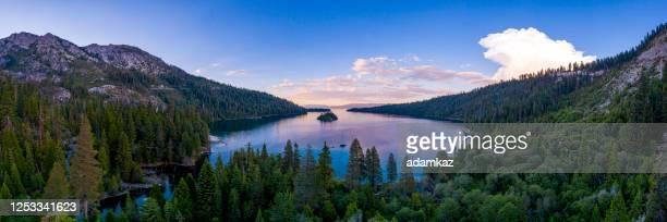 aerial panorama of lake tahoe in california - emerald bay lake tahoe stock pictures, royalty-free photos & images