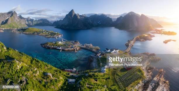 aerial panorama of lofoten in summer, norway - lofoten stock pictures, royalty-free photos & images