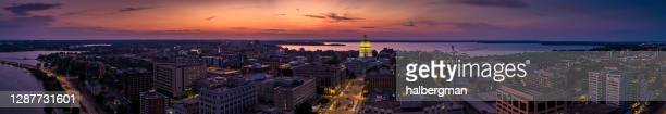 aerial panorama of madison, wisconsin at sunset - vilas_county,_wisconsin stock pictures, royalty-free photos & images