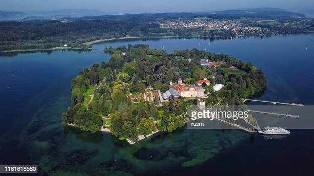 aerial panorama of mainau island on calm morning at lake constance (bodensee), germany - bodensee stock pictures, royalty-free photos & images