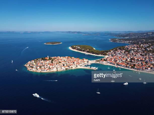 Aerial panorama of marina and resort adriatic town Primosten, Croatia.