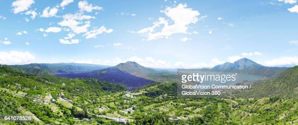 aerial panorama of mt batur in bali, indonesia - lake batur stock photos and pictures