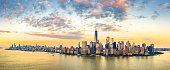 Aerial panorama of New York City skyline at sunset