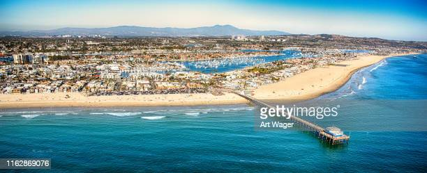 aerial panorama of newport beach california - newport beach stock pictures, royalty-free photos & images