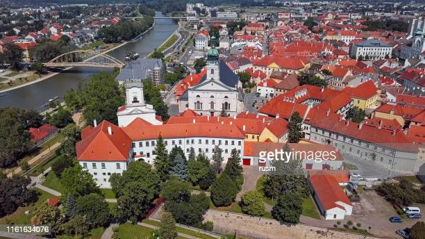 aerial panorama of old town gyor, hungary. - hungary stock pictures, royalty-free photos & images