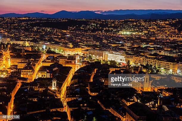 Aerial panorama of old town in Nice