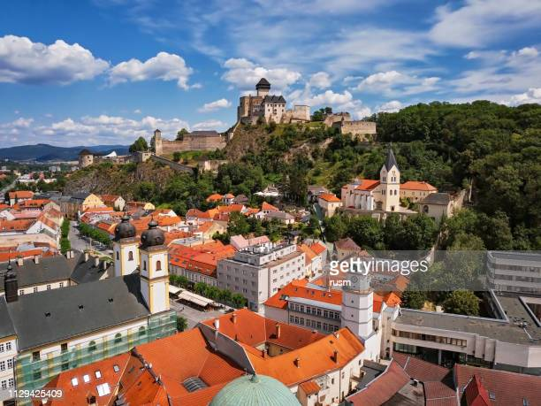 aerial panorama of old town trencin, slovakia - slovakia stock pictures, royalty-free photos & images