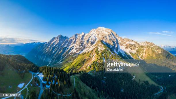 aerial panorama of rossfeld mountain panoramic road, berchtesgaden, germany - berchtesgaden stock pictures, royalty-free photos & images