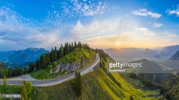 aerial panorama of rossfeld mountain panoramic road, berchtesgaden, germany - mountain road stock pictures, royalty-free photos & images