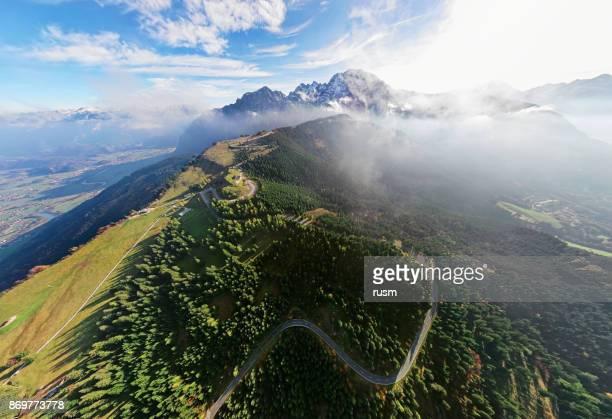 Aerial panorama de Rossfeld route panoramique de la montagne, Berchtesgaden, Allemagne