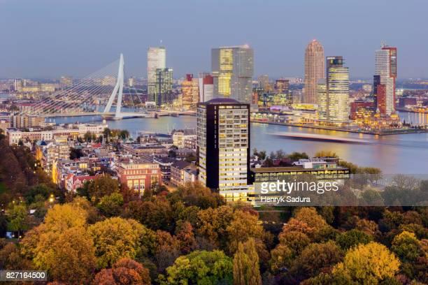 aerial panorama of rotterdam - rotterdam stock-fotos und bilder
