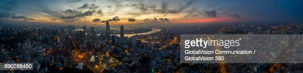aerial panorama of saigon at dawn - high dynamic range imaging stock pictures, royalty-free photos & images