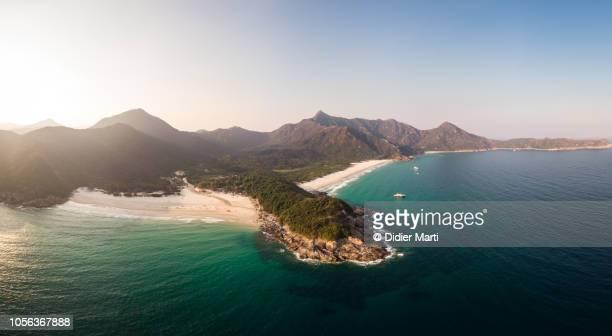 Aerial panorama of Saikung coastline in Hong Kong