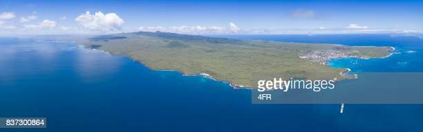 aerial panorama of san cristobal with its harbour puerto baquerizo moreno, galapagos islands, ecuador - aeolian islands stock pictures, royalty-free photos & images