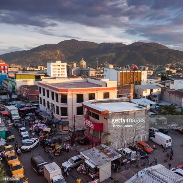 aerial panorama of san salvador - san salvador fotografías e imágenes de stock