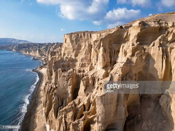 Aerial panorama of sand cliffs on Vlihada Beach on Santorini Island, Greece