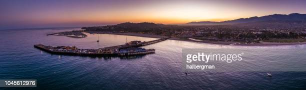 Aerial Panorama of Santa Barbara, CA at Dusk