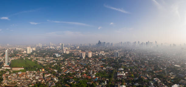 Aerial panorama of the Jakarta skyline in Indonesia capital city.