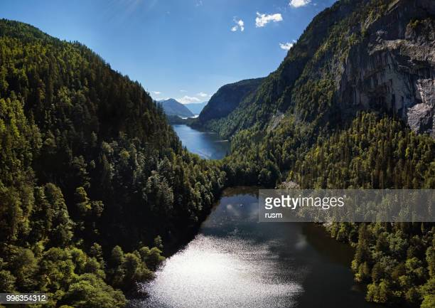 aerial panorama of toplitzsee (toplitz lake) and kammersee mountain lakes, in salzkammergut, styria, austria. - valley stock pictures, royalty-free photos & images