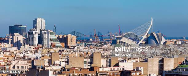 aerial panorama of valencia - valencia spagna foto e immagini stock
