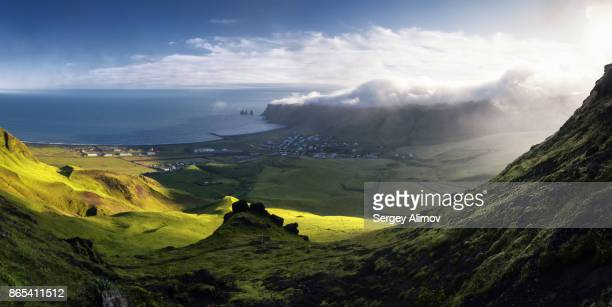 Aerial panorama of valley around Vik town, South Iceland