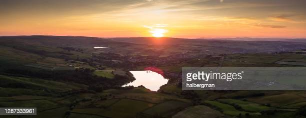aerial panorama of worth valley at sunset - reservoir stock pictures, royalty-free photos & images