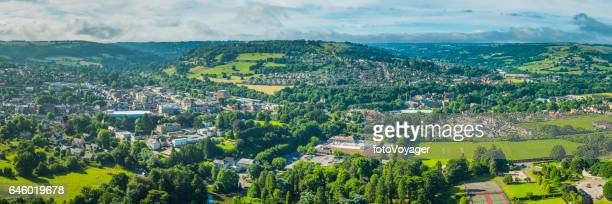 aerial panorama over country town green fields suburban homes stroud - overhemd en stropdas stock pictures, royalty-free photos & images