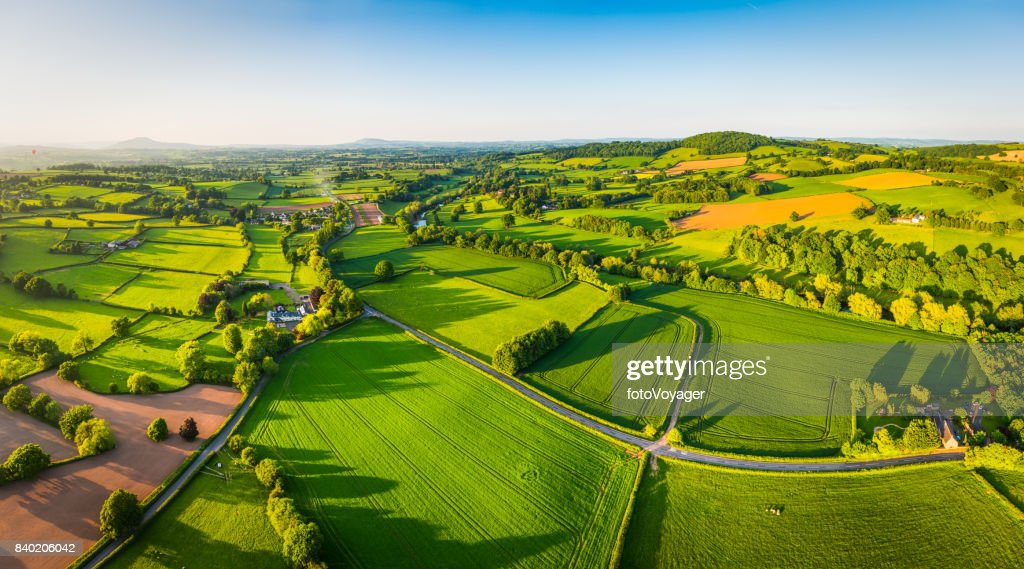 Aerial panorama over idyllic green summer farm fields crops pasture : Stock Photo