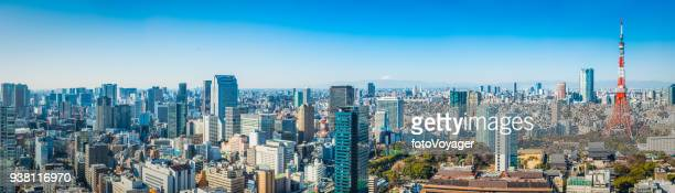 aerial panorama over tokyo tower mt fuji skyscraper cityscape japan - tokyo japan stock pictures, royalty-free photos & images