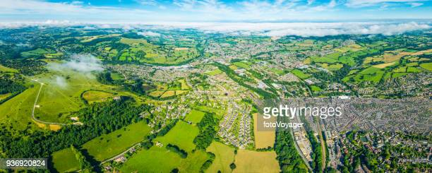aerial panorama over town and country green farm field suburbs - gloucester england stock pictures, royalty-free photos & images
