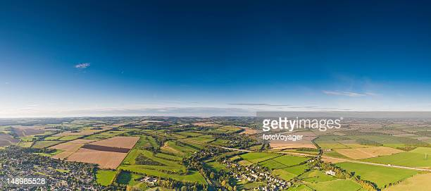 Aerial panorama patchwork land villages big sky