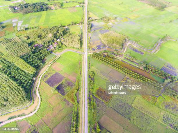 Aerial panorama scene of the rural road in Thailand