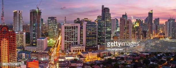 Aerial panorama view at night of Makati,business district of Metro Manila, Philippines