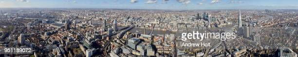 aerial panorama view north from newington looking over the thames and the city of london. se1 united kingdom. - holborn stock pictures, royalty-free photos & images