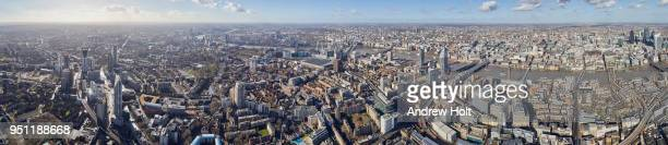 Aerial panorama view north-west from Newington looking over The Thames, Waterloo and Temple. SE1 United Kingdom.
