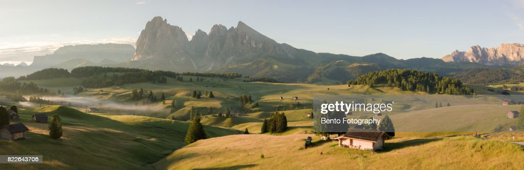 Aerial panorama view of Alpe di Siusi in sunrise, Italy : Stock Photo